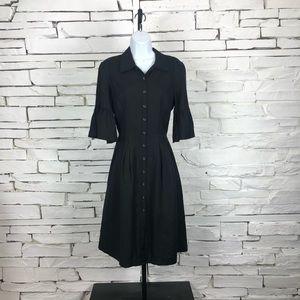 Oscar De La Renta Button Front Linen Dress 1626